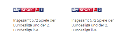 Sender im Sky Fußball Bundesliga Paket
