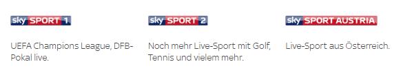 Sender im Sky Sport Paket